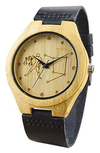 Eyekepper Waage schnitzte Bambusse Uhr mit Schwarz Lederband aus Holz Armbanduhren Herren Uhren