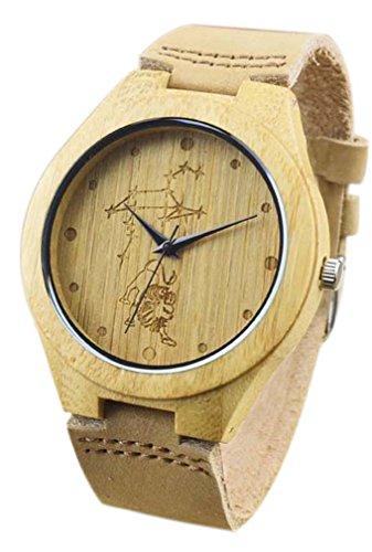 Eyekepper Loewe schnitzte Bambusse Uhr mit Braun Lederband aus Holz Armbanduhren