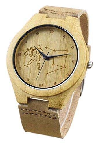 Eyekepper Waage schnitzte Bambusse Uhr mit Braun Lederband aus Holz Armbanduhren Herren Uhren