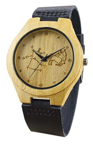 Eyekepper Schuetze schnitzte Bambusse Uhr mit Schwarz Lederband aus Holz Armbanduhren Herren Uhren