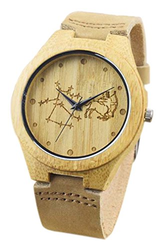 Eyekepper Schuetze schnitzte Bambusse Uhr mit Braun Lederband aus Holz Armbanduhren