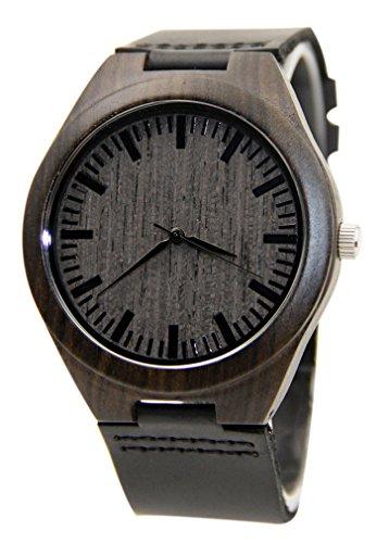 Eyekepper Schwarz Holz Uhr mit echtem Schwarz Leder Quarz analoge Uhr Holz