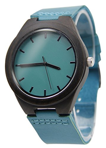 Eyekepper Schwarz Holz Uhr mit Blau Leder Band Quarz Uhr Holz