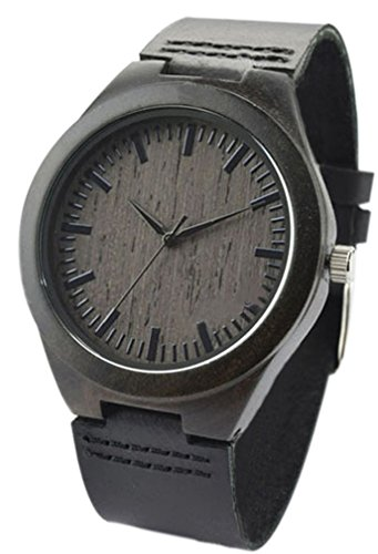 Eyekepper Schwarz Sandelholz Holz Uhr mit echtem Schwarz Kuh Leder Buegel Quarz Analog Uhr Holz