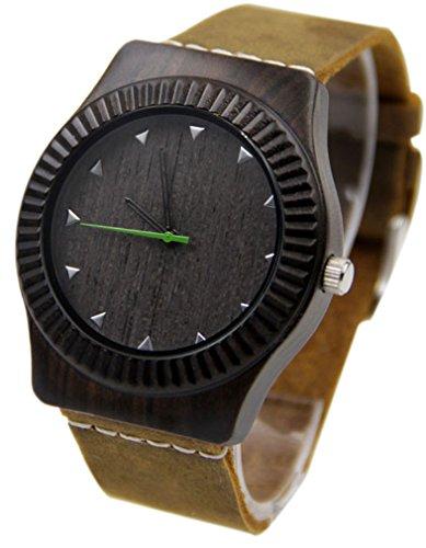 Eyekepper Schwarz Sandelholz Uhr mit echtem Leder Band Quarz Armbanduhren