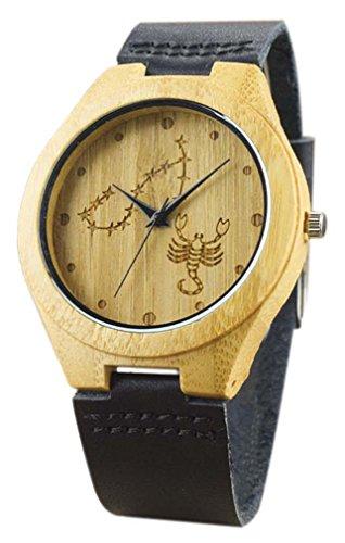 Eyekepper Skorpion schnitzte Bambusse Uhr mit Schwarz Lederband aus Holz Armbanduhren
