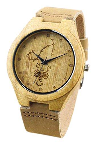 Eyekepper Skorpion schnitzte Bambusse Uhr mit Braun Lederband aus Holz Armbanduhren