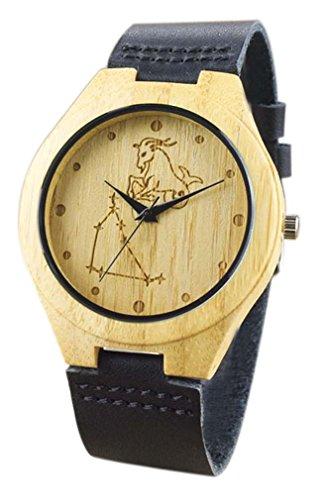 Eyekepper Steinbock schnitzte Bambusse Uhr mit Schwarz Lederband aus Holz Armbanduhren Herren Uhren