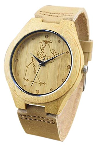 Eyekepper Steinbock schnitzte Bambusse Uhr mit Braun Lederband aus Holz Armbanduhren Herren Uhren