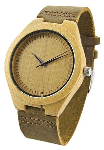 Eyekepper Unisex Retro Leder Mode Bambus Holz Uhr Japan Bewegung Quarz beilaeufige Armbanduhren