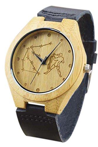 Eyekepper Wassermann schnitzte Bambusse Uhr mit Schwarz Lederband aus Holz Armbanduhren Herren Uhren