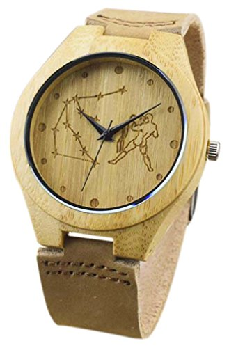 Eyekepper Wassermann schnitzte Bambusse Uhr mit Braun Lederband aus Holz Armbanduhren Herren Uhren