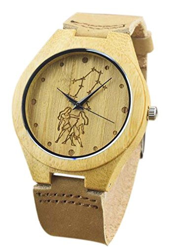 Eyekepper Zwillinge schnitzte Bambusse Uhr mit Braun Lederband Bambus Uhr Quarz Lederarmband Mann Uhren