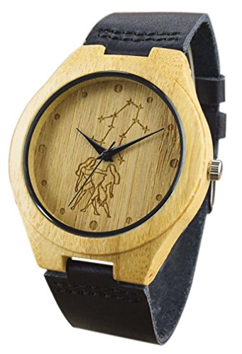 Eyekepper Zwillinge schnitzte Bambusse Uhr mit Schwarz Lederband Bambus Uhr Quarz Lederarmband Mann Uhren