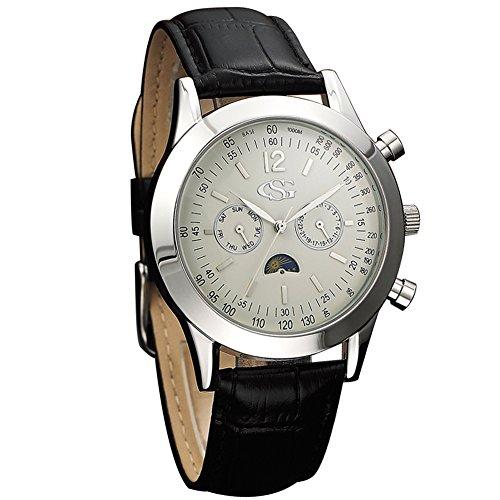 GEORGE SMITH Maenner Praezise Chronographen Weisses Zifferblatt Armbanduhr Raffiniert Nuechterne Haende Echtlederarmband