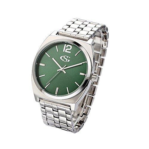 GEORGE SMITH Herren 43mm Einfache Art und Weise Gruenes Zifferblatt Edelstahlarmband Uhr