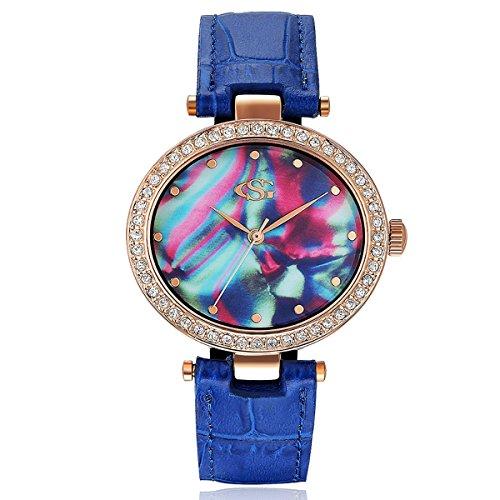 GEORGE SMITH Glamouroese Uhr Weisekleiduhr Sommer Quarzuhr Mode Dekor Analog Der Frauen Elegante Uhr mit oesterreichischen Kristall und Blauen Lederband