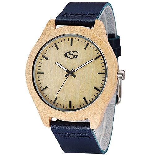 GEORGE SMITH Unisex Handgemachte Naturholz Uhr mit Dunkelblauen Lederband