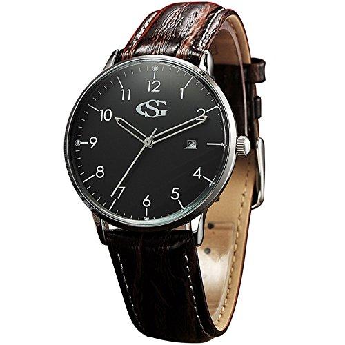 GEORGE SMITH 40mm Herren Klassisch Praezise Handgemachte Quarzarmbanduhr mit Lederband Luxusuhr Beobachten