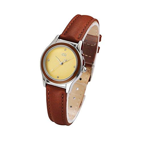 GEORGE SMITH Dame der Art und Weise Handgemachte Goldenen Zifferblatt Armbanduhr mit Braunem Lederband