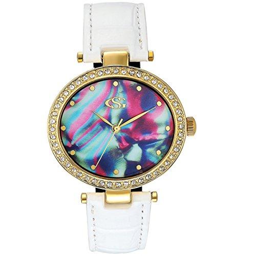 GEORGE SMITH Ladys Herrlich Analoge Quarz Praezise Armbanduhr Nuechterne Haende Armband Aus Echtem Leder Veredelt