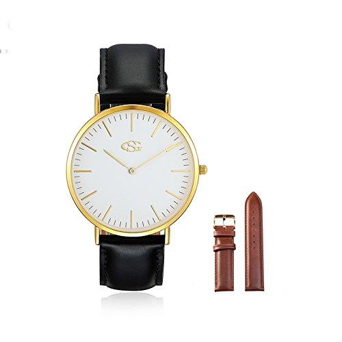GEORGE SMITH Mens Klassische Armbanduhr mit Braunem Lederband Austauschbar