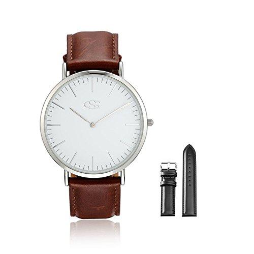 GEORGE SMITH Mens Klassische Armbanduhr mit Schwarzem Lederband Austauschbar