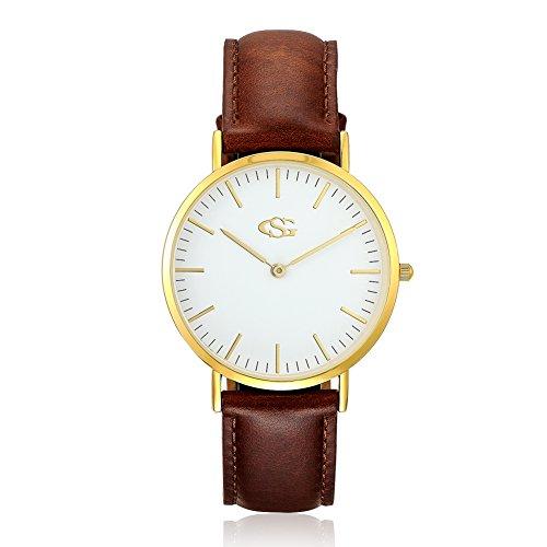 GEORGE SMITH Goldton Frauen Klassische ST Mawes Edelstahl Uhr mit Braunem Lederband