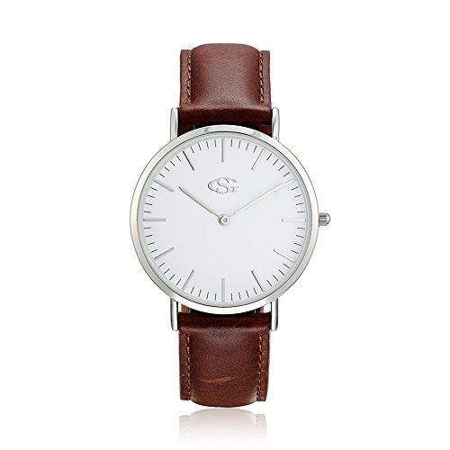 GEORGE SMITH Klassische Praezise Silberton der Frauen Weisses Zifferblatt Armbanduhr mit Braunem Lederband