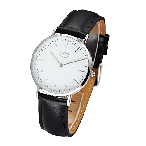 GEORGE SMITH Damen Elegante Silberton Weisses Zifferblatt Armbanduhr mit Schwarzen Duennen Lederband