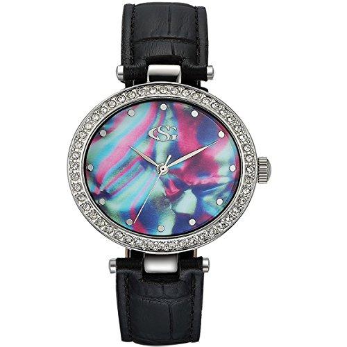GEORGE SMITH Dame Sternenhimmel Romantische Elegante Analoge Armbanduhr mit oesterreichischen Kristallen fuer Freundin