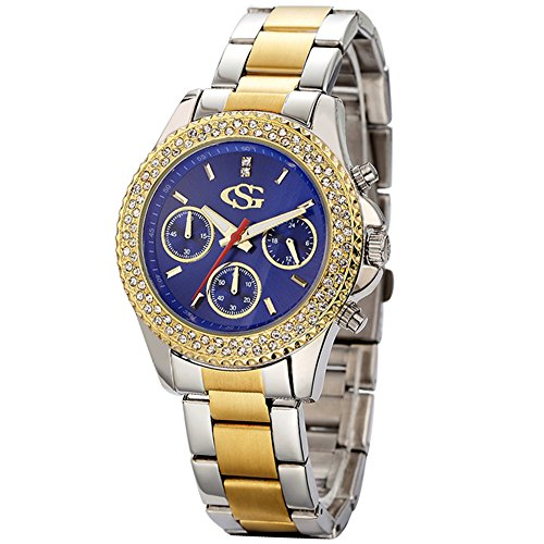 GEORGE SMITH Unisex Blaues Zifferblatt Edelstahl Uhr mit oesterreichischen Kristall