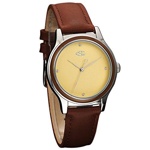 GEORGE SMITH Damen Vintage Gold Zifferblatt Wasserdichte Armbanduhr mit Braunem Lederband