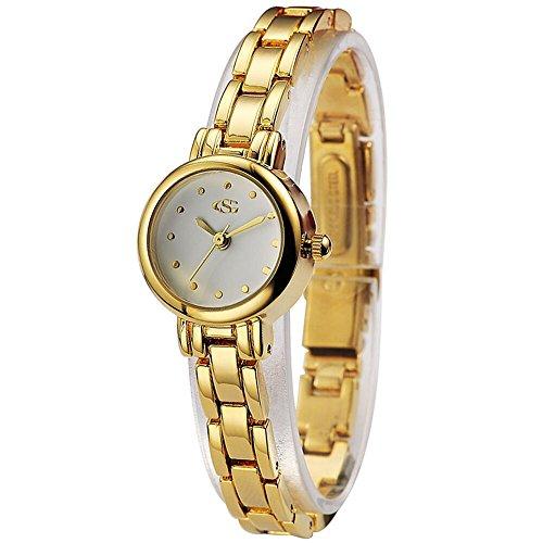 GEORGE SMITH Dame Praezise Goldene Quarz Weisses Zifferblatt Wasserdichte Edelstahlarmband Armbanduhr