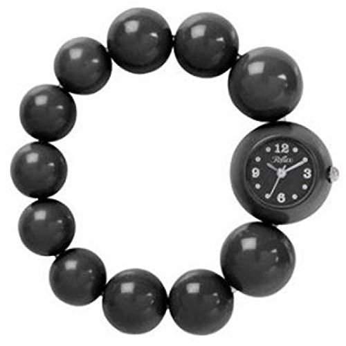 REFLEX BBR001 Analoge Damenarmbanduhr in schwarz mit modischem Perlenarmband