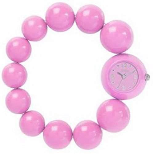 REFLEX BBR002 Analoge Damenarmbanduhr in pink mit modischem Perlenarmband