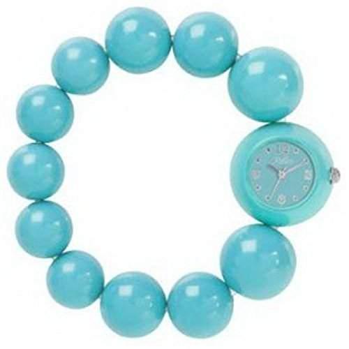 REFLEX BBR003 Analoge Damenarmbanduhr in tuerkis-blau mit modischem Perlenarmband
