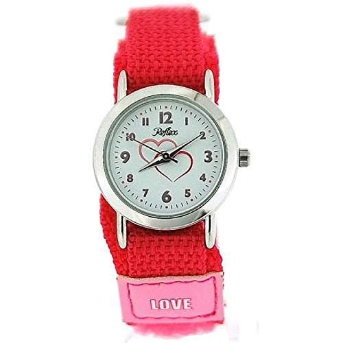 Montre Reflex Analogique Fille Bracelet Love Tissu Velcro Rose Vif