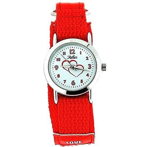 Montre Reflex Analogique Fille Bracelet Love Tissu Velcro Rouge Vif