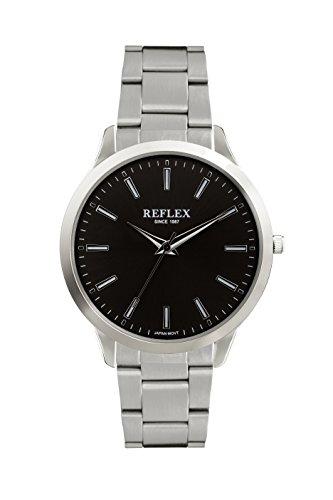 Reflex Herren Armbanduhr Schwarz Zifferblatt Edelstahl rund Armband ref0074