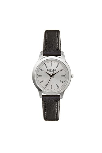 Reflex REF0050 Damen Armbanduhr rundes silberfarbenes Zifferblatt schwarzes Armband aus Kunstleder