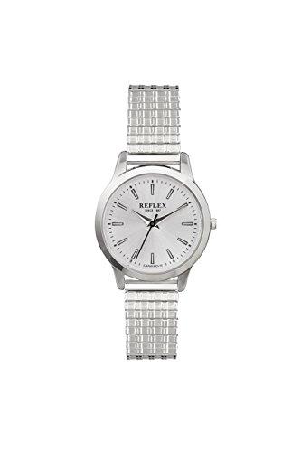 Reflex Damen Silber rund Zifferblatt Armbanduhr mit Edelstahl Armband Silber Expander refx0004