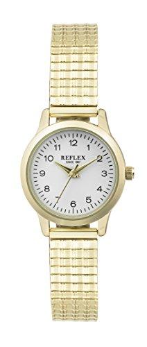 Reflex Damen Weiss Rund Zifferblatt Armbanduhr mit Edelstahl Armband Golden Expander refx0006
