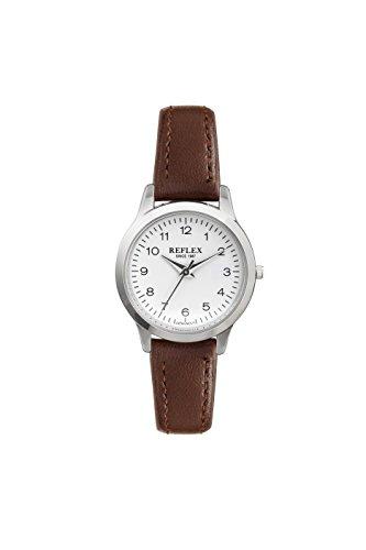 Reflex Damen Rund Weiss Zifferblatt Uhr mit Braun PU Lederband ref0040