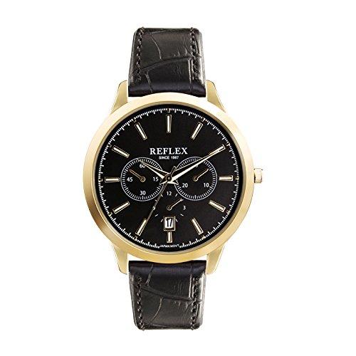 Reflex Gents Quarz Gold dekorative Multi Zifferblatt Armbanduhr mit Datumsanzeige und schwarz Croc Stil PU Gurt ref0065