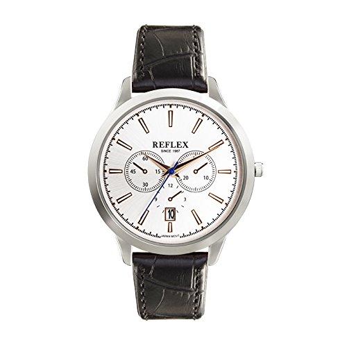Reflex Gents Quarz Silber Dekorativer Multi Zifferblatt Uhr mit Datum Display und schwarz Croc Stil PU Gurt ref0063