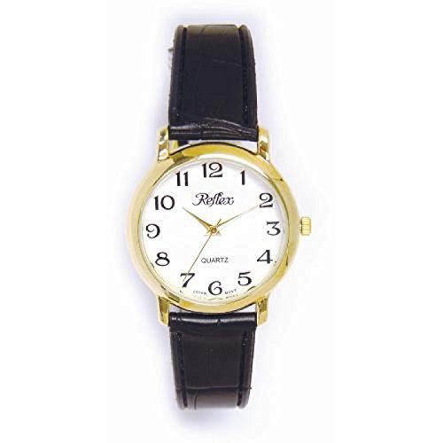 Reflex 101151GT mit weissem Zifferblatt und schwarzem Armband im Krokolook