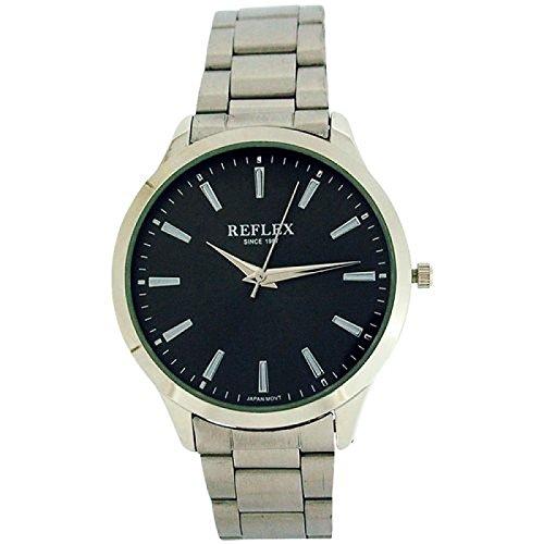 Reflex analoge Herrenuhr schwarzes Zifferblatt silberfarbenes Armband REF0074