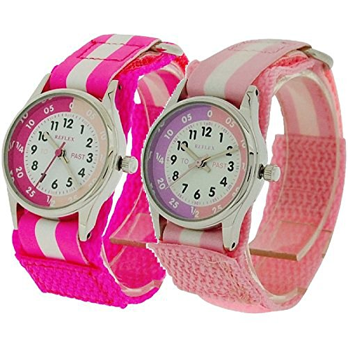 2 X Reflex Kinder Zeitlernuhr dunkel rosa rosa Klett Stoffarmband