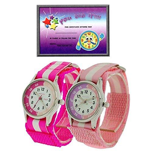 2 X Reflex Kinder Zeitlernuhr rosa pink Klett Stoffarmband Uhr Lesen Urkunde